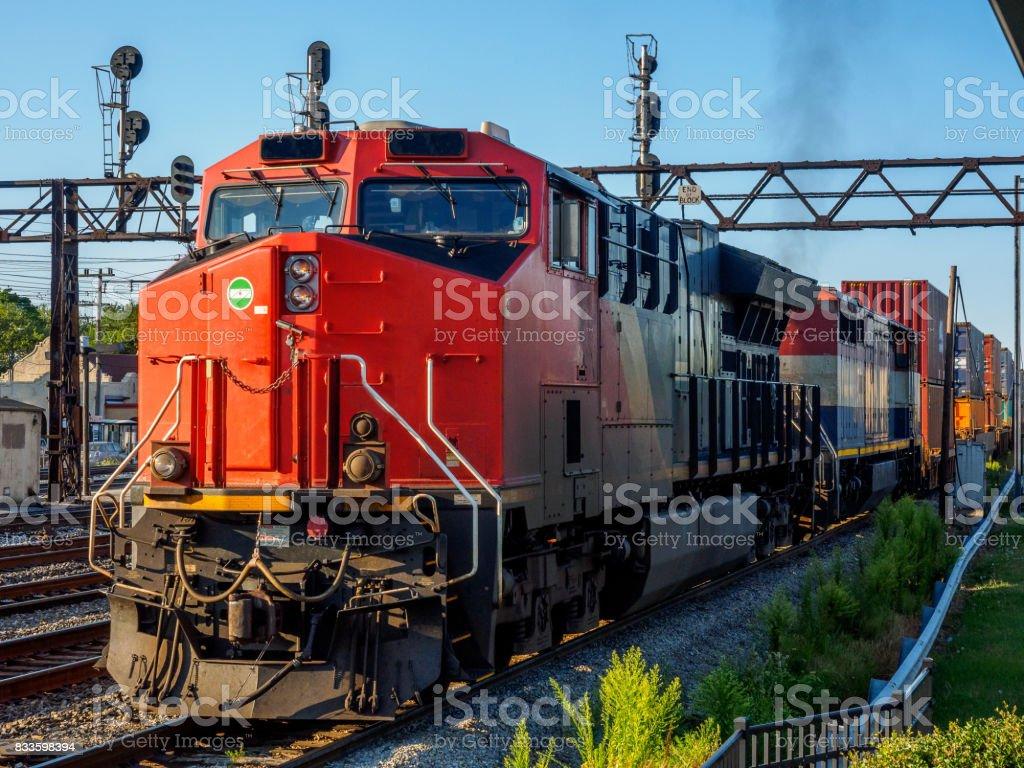 Long train running stock photo