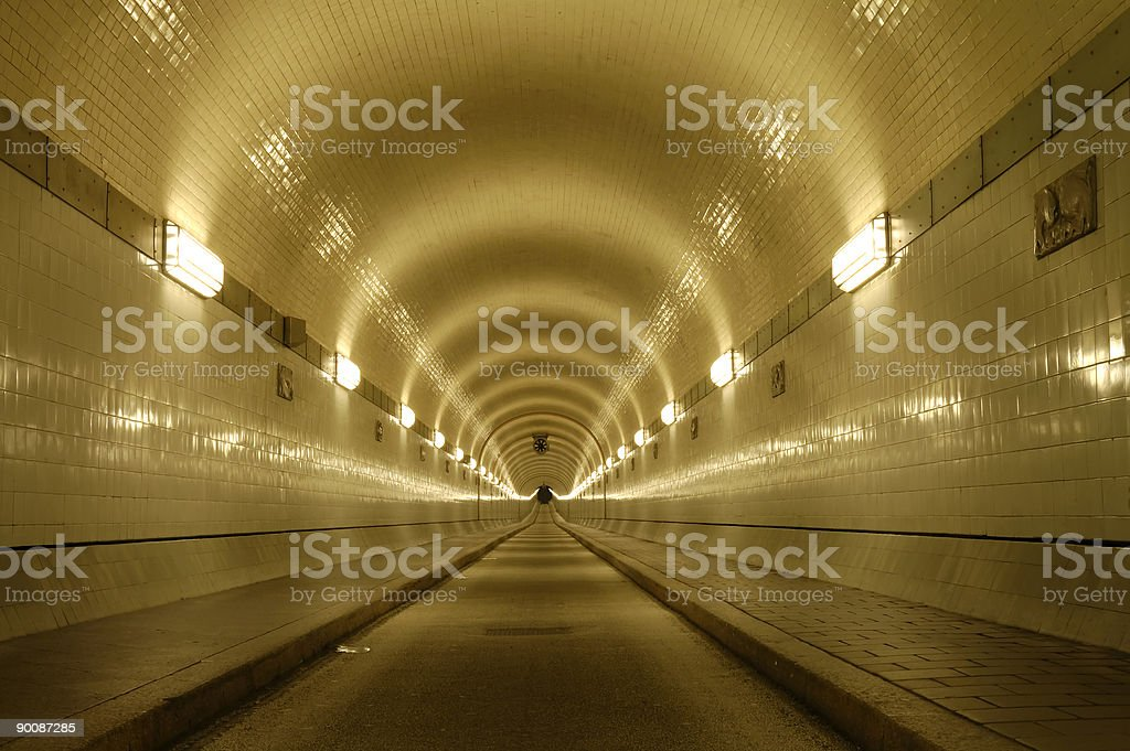 long tunnel in Hamburg royalty-free stock photo