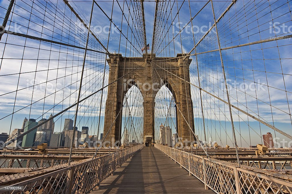 Long view picture of the Brooklyn Bridge stock photo