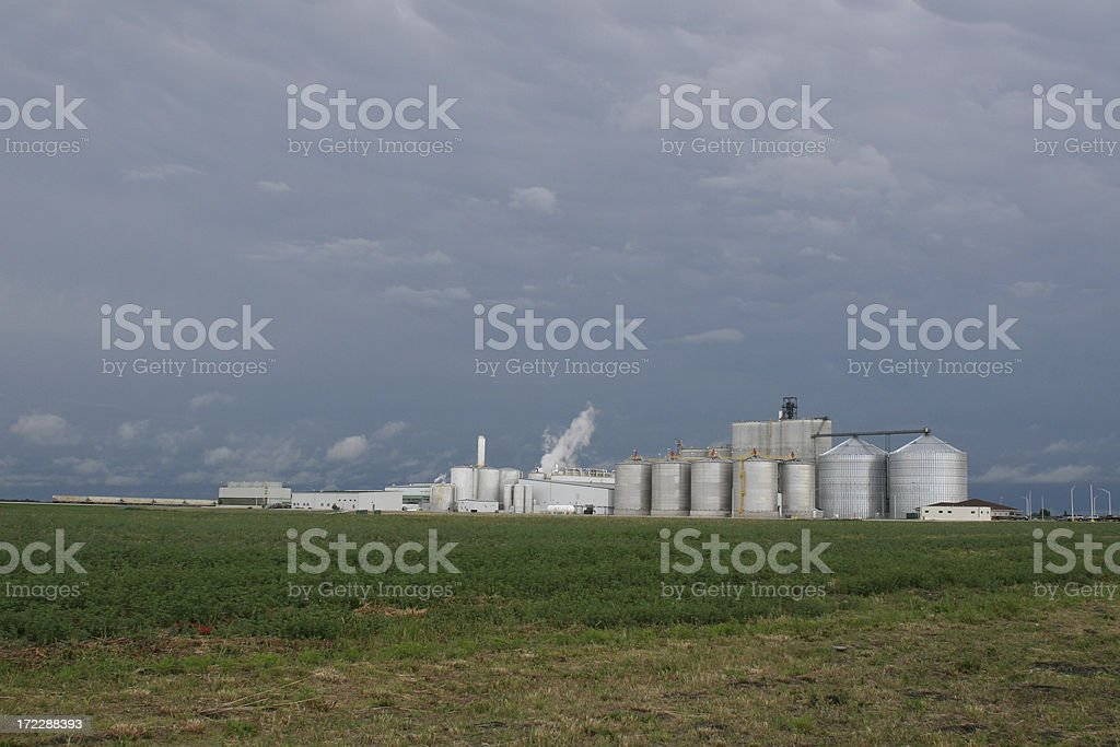 Long View White Ethanol Plant Blue Sky royalty-free stock photo