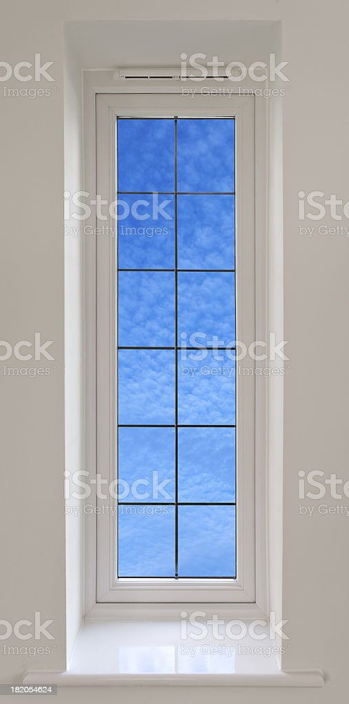 long white window and sky stock photo