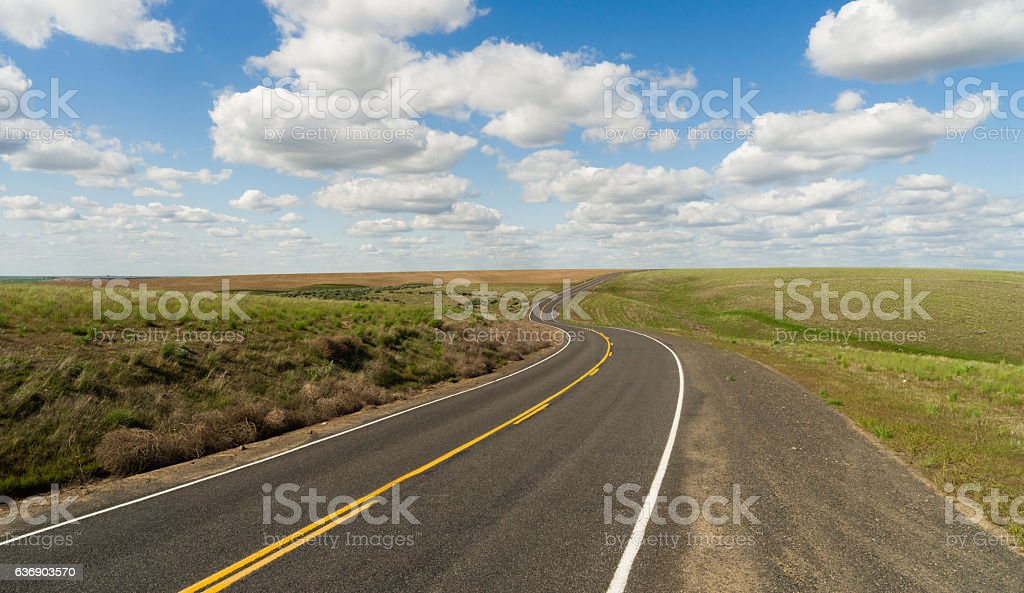 Long Winding Road Cury into The Distance Vanishing Point stock photo