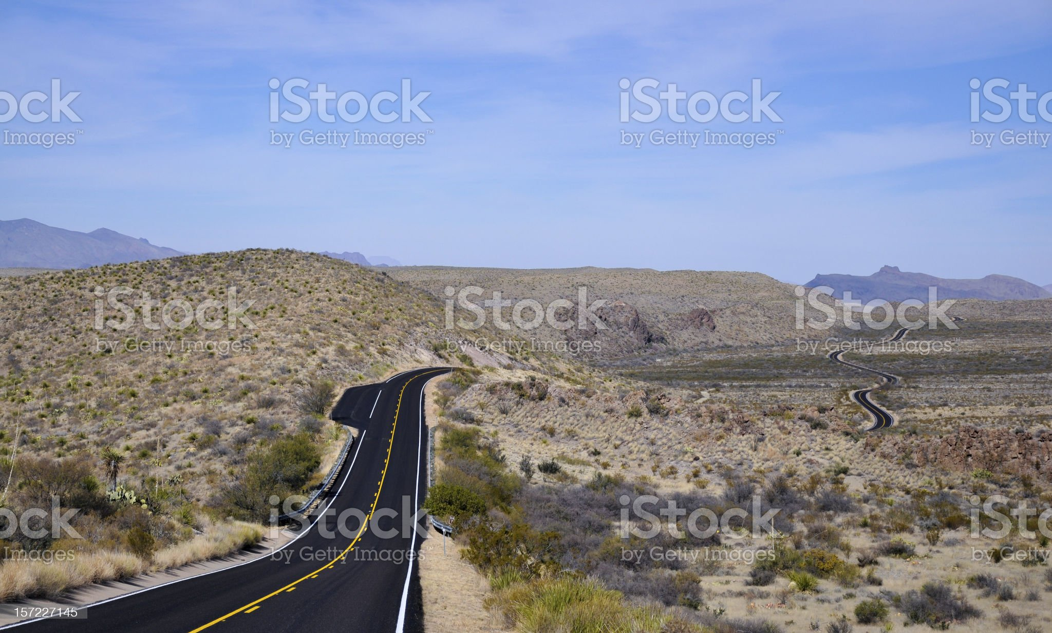 Long winding roads through the big band national park royalty-free stock photo