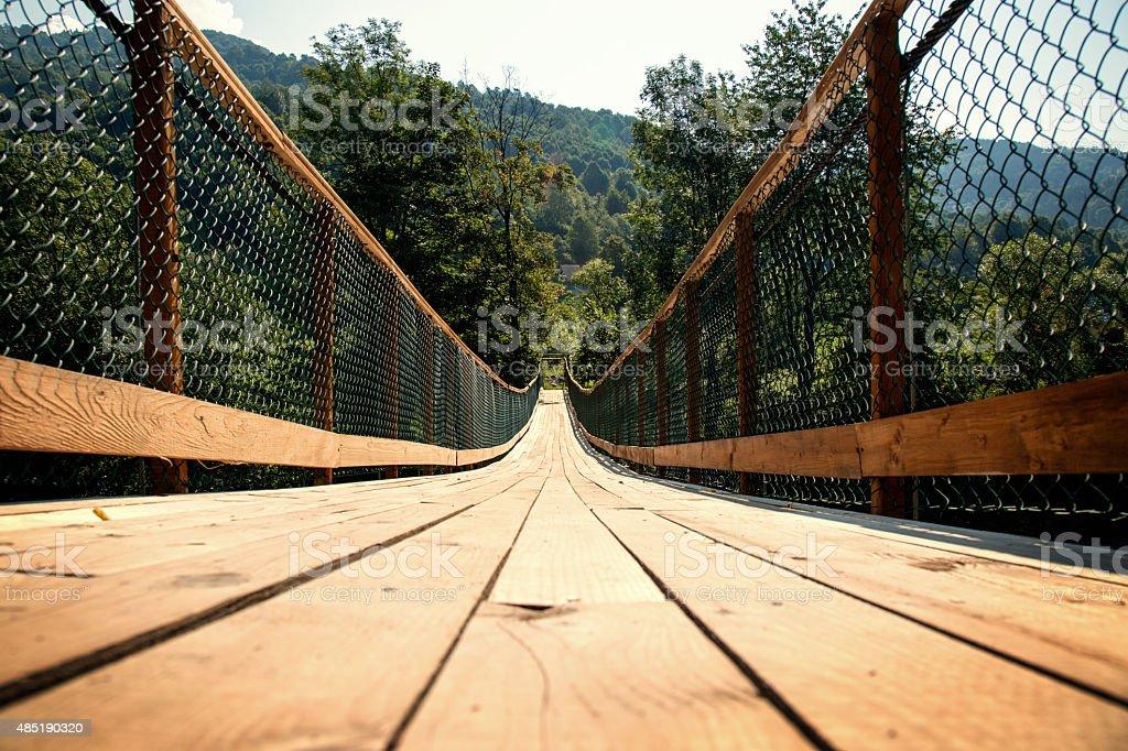 long wooden bridge stock photo