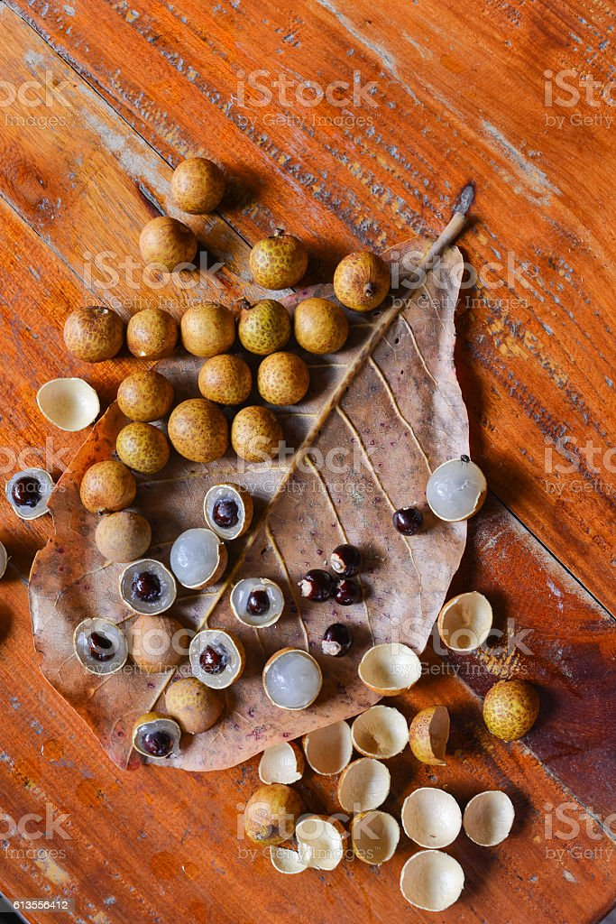 Longan fruit on plate stock photo