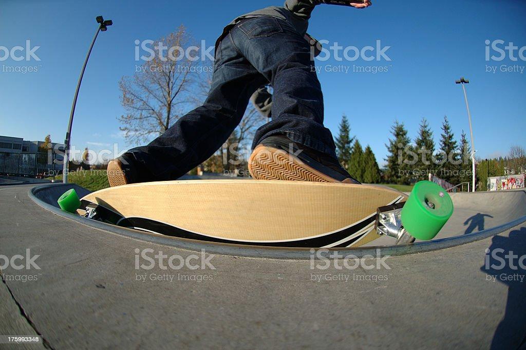 Longboard Backside Carve Grind royalty-free stock photo