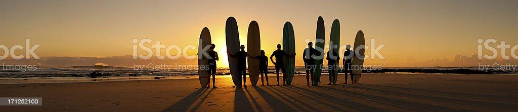 Longboard Sunrise Panorama royalty-free stock photo