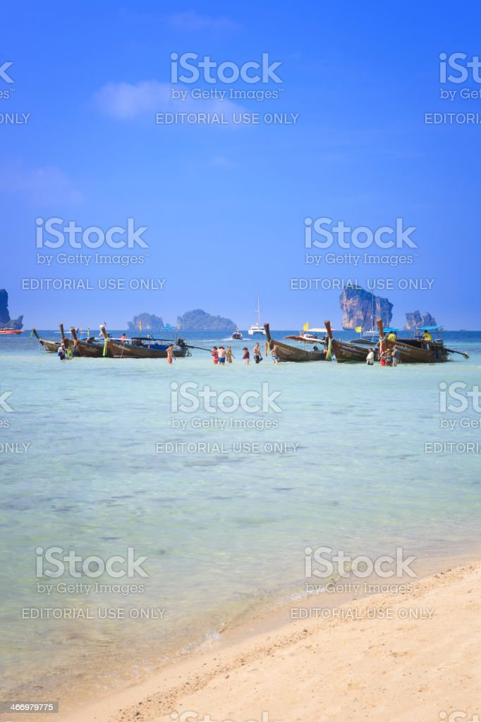 Longboats and Tourists at Tup Island stock photo