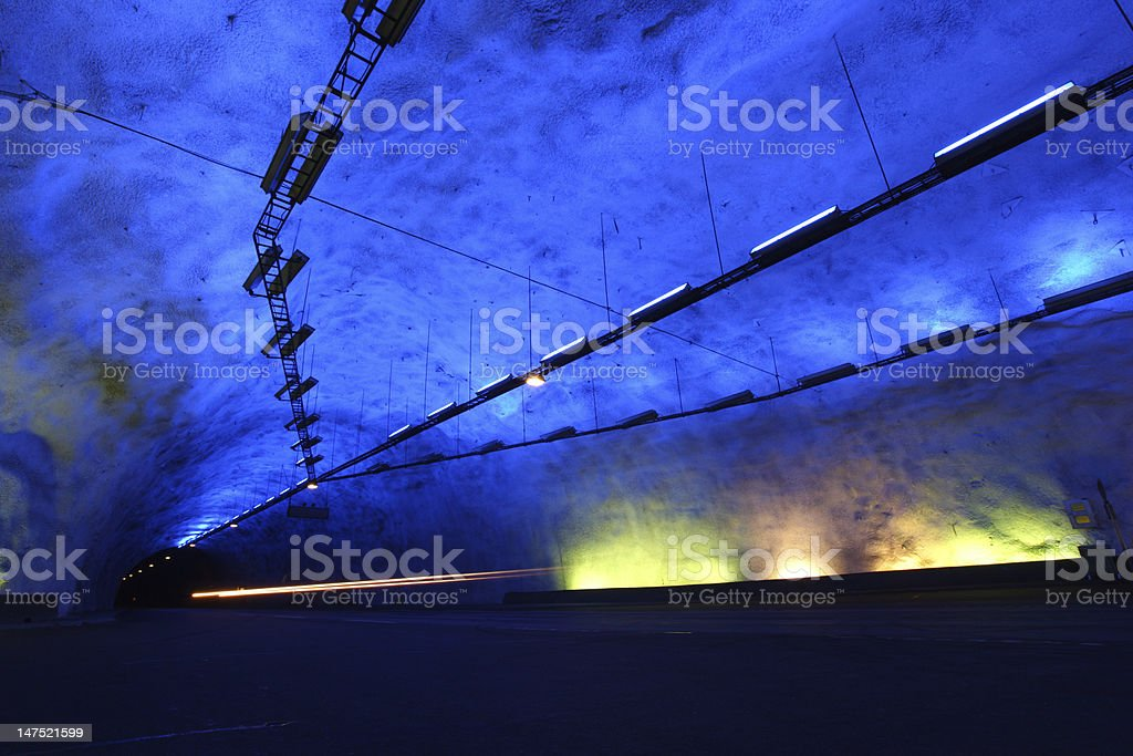 Longest road tunnel in Laerdal, Norway stock photo