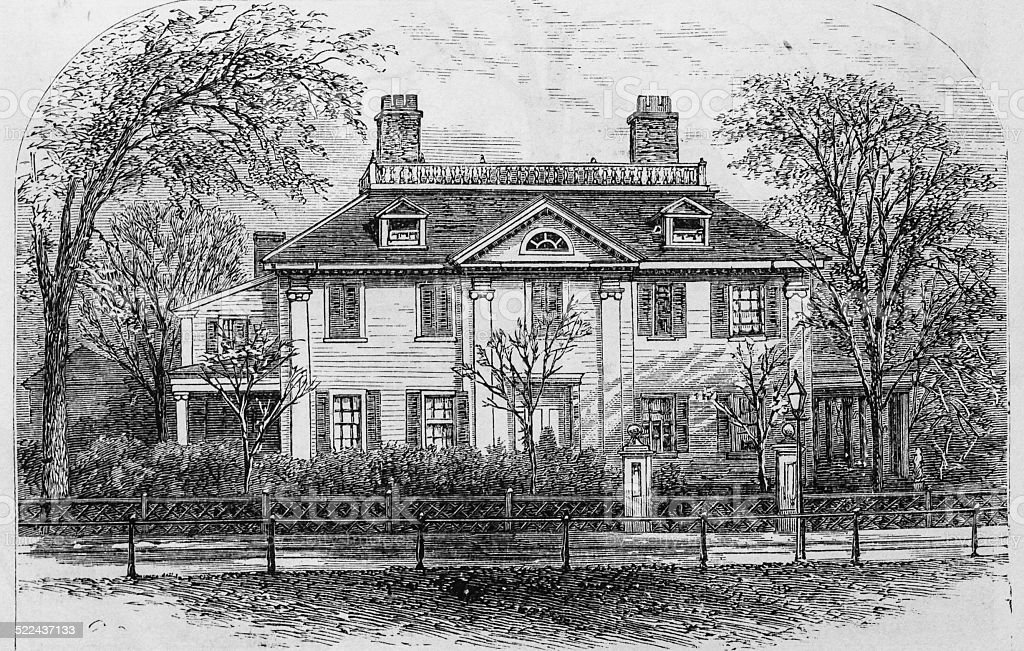 Longfellow's Residence (c1759) stock photo