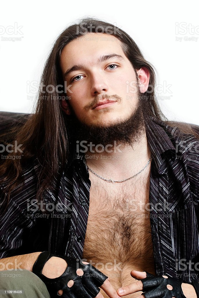 Long-haired bearded man. stock photo