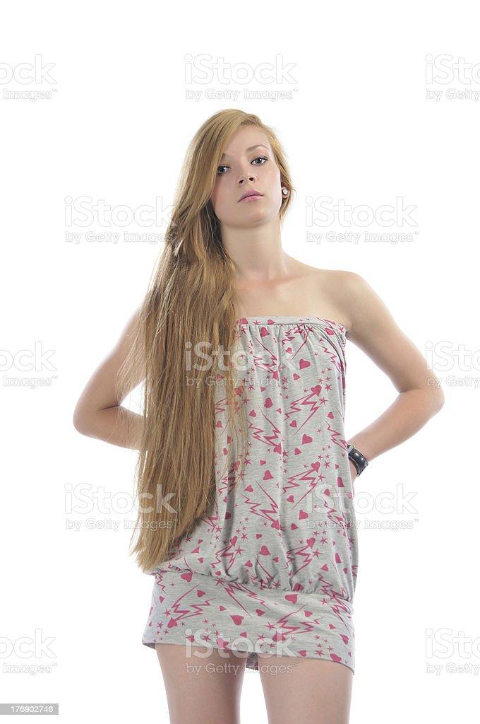 Long-haired beautiful girl stock photo