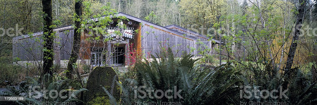 Longhouse at The Evergreen State College, Olympia, Washington stock photo