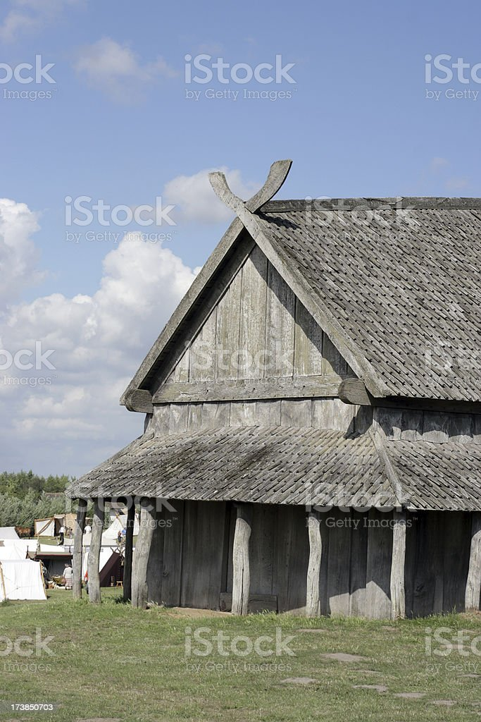 Longhouse in front of viking market royalty-free stock photo