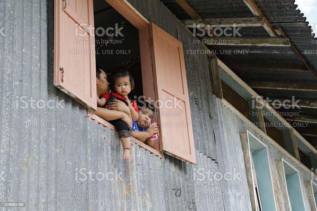 Longhouse village in Sarawak Malaysia stock photo