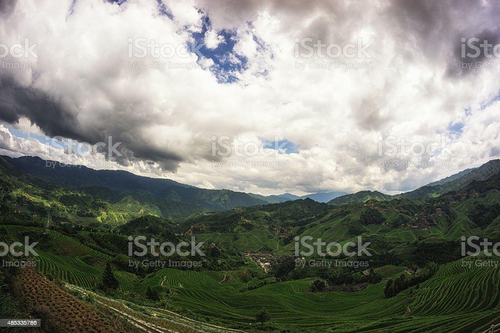 Longi rice terrace stock photo