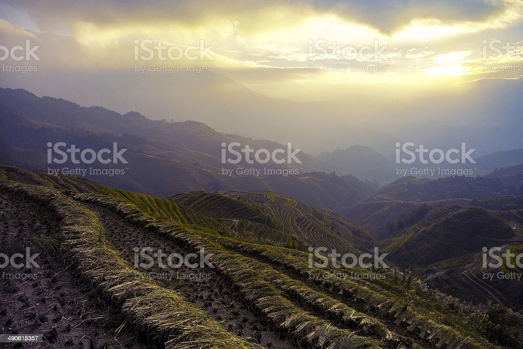 Longji Terraced Fields in Guangxi province,china stock photo