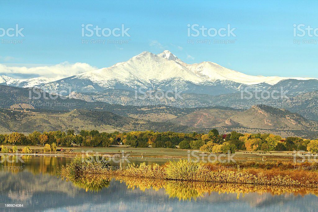 Longs peak across McIntosh Lake in the Fall stock photo