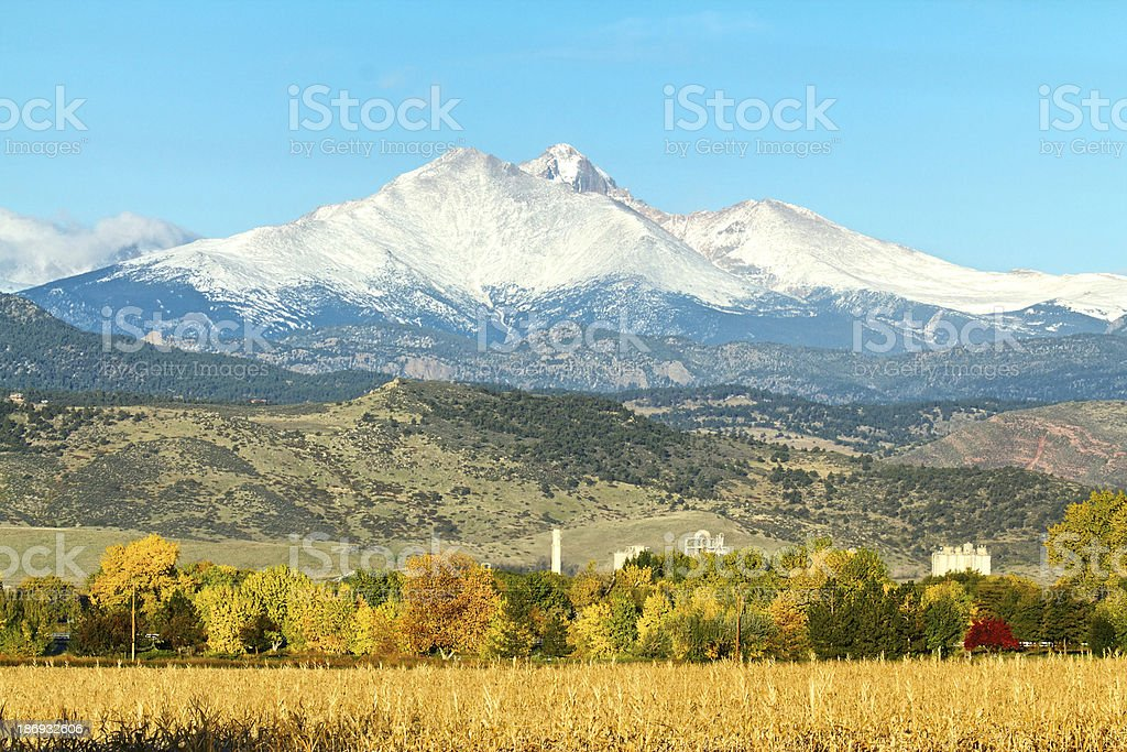 Longs Peak and Meeker Mountain in the fall stock photo