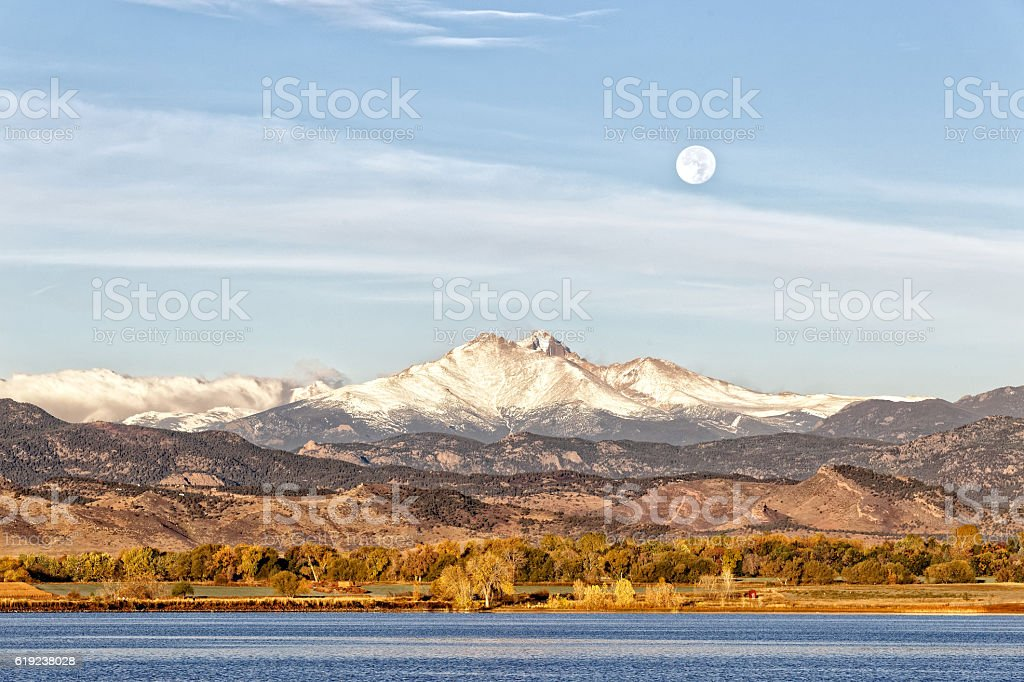 Longs Peak and the Full Moon stock photo
