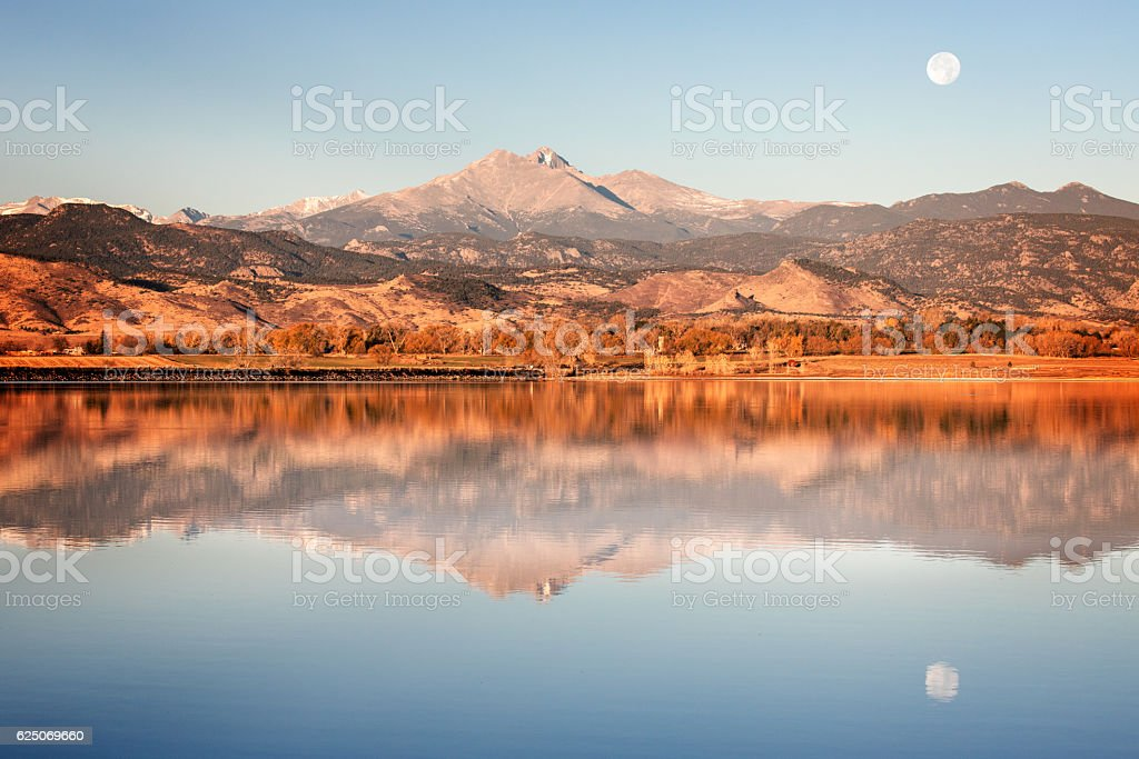 Longs Peak and the Moon in Colorado stock photo