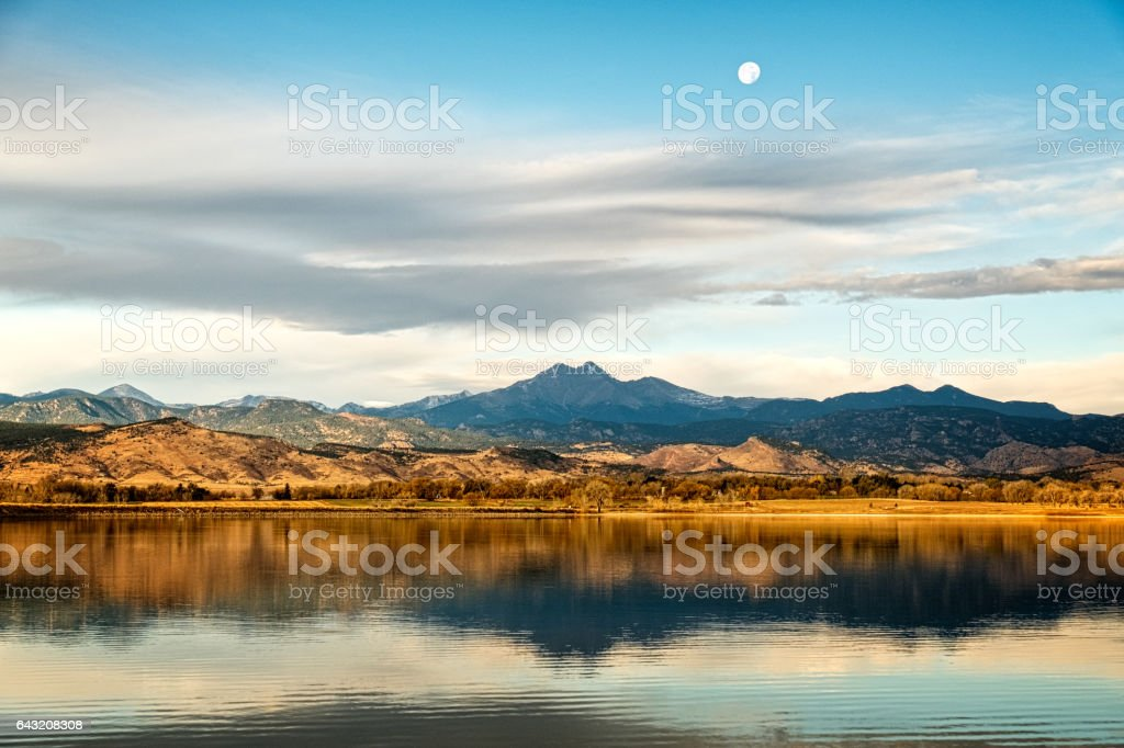 Longs peak and the Moon stock photo