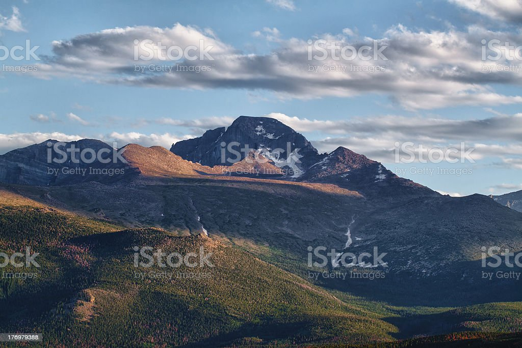 Longs Peak as seen from Moraine Park royalty-free stock photo