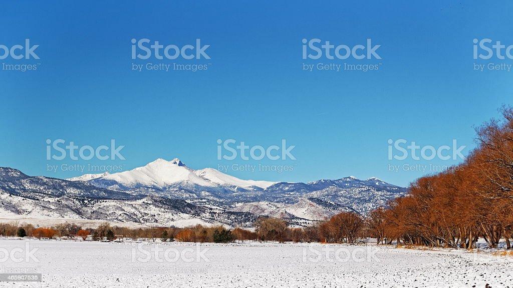 Longs Peak at Hygiene Colorado stock photo