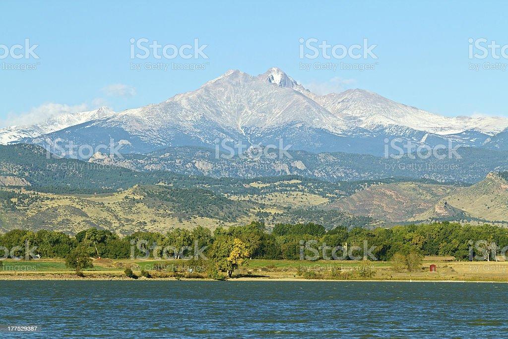 Longs Peak in the summer stock photo