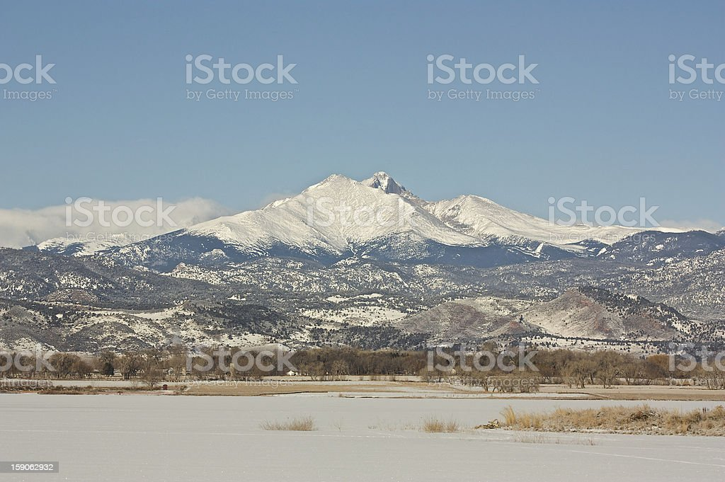 Longs Peak in the Winter stock photo
