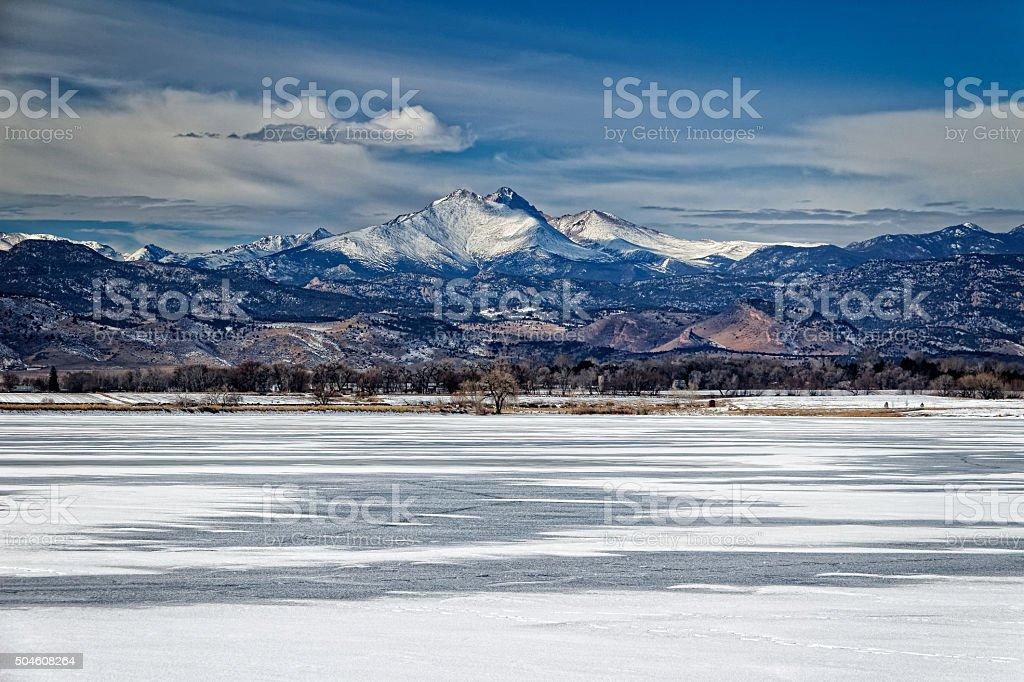 Longs Peak Mountain Colorado Panorama stock photo