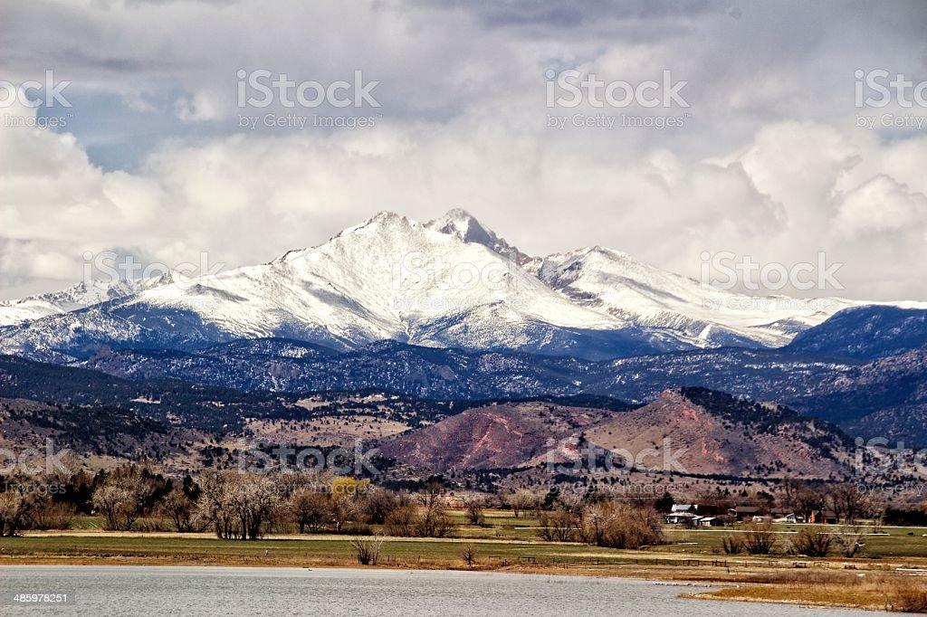Longs Peak Mountain from McIntosh Lake stock photo