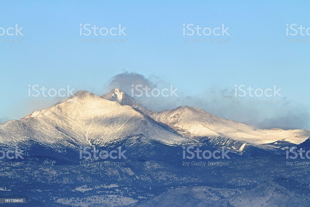 Longs Peak Mountain in Colorado stock photo