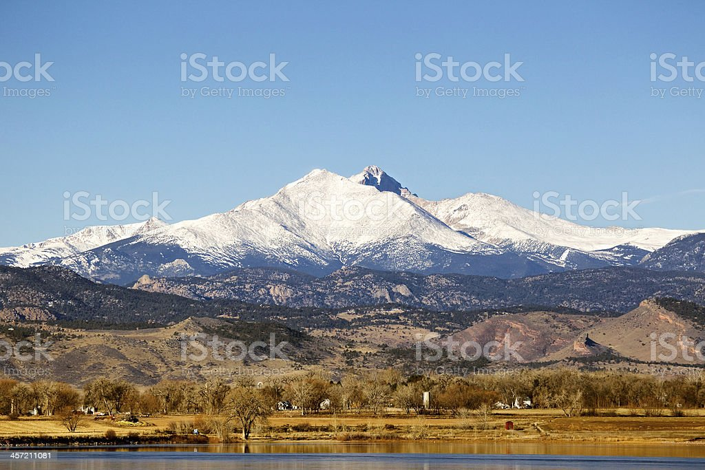 Longs Peak Mountain in Longmont, Colorado stock photo