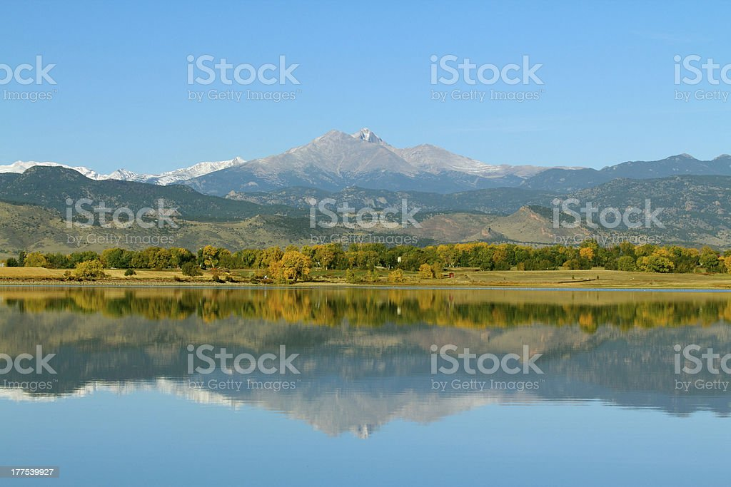 Longs Peak Mountain in the Fall stock photo