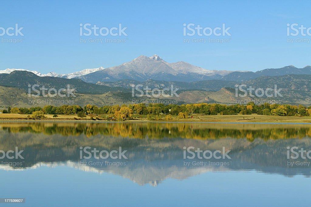 Longs Peak Mountain in the Fall stock photo