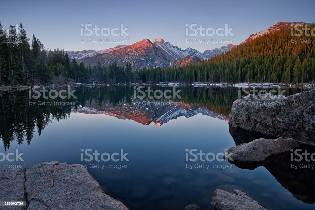 Longs Peak Reflection on Bear Lake stock photo