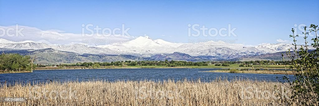 Longs Peak Spring Snow stock photo