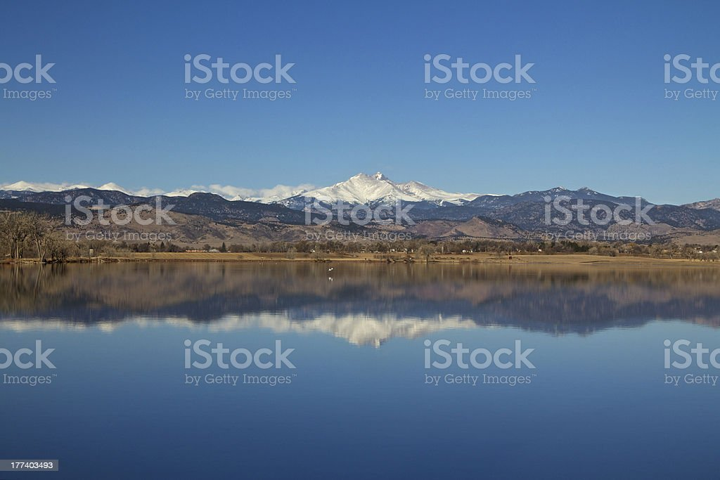 Longs Peak with Lake reflection stock photo