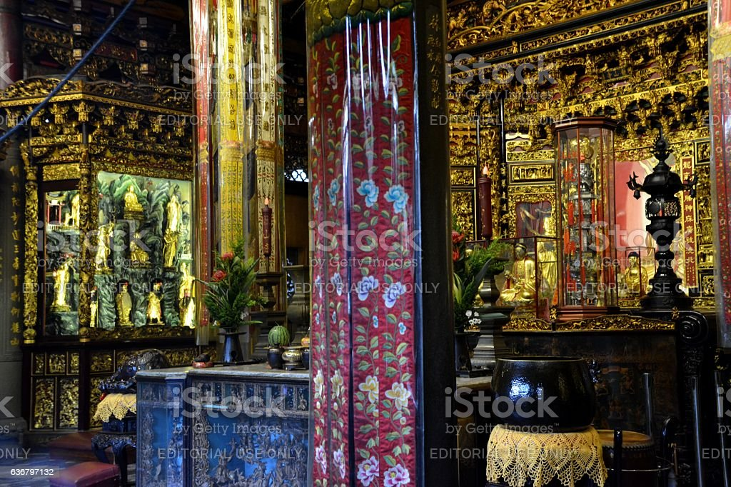 Longshan Temple indoors, Taipei, Taiwan stock photo