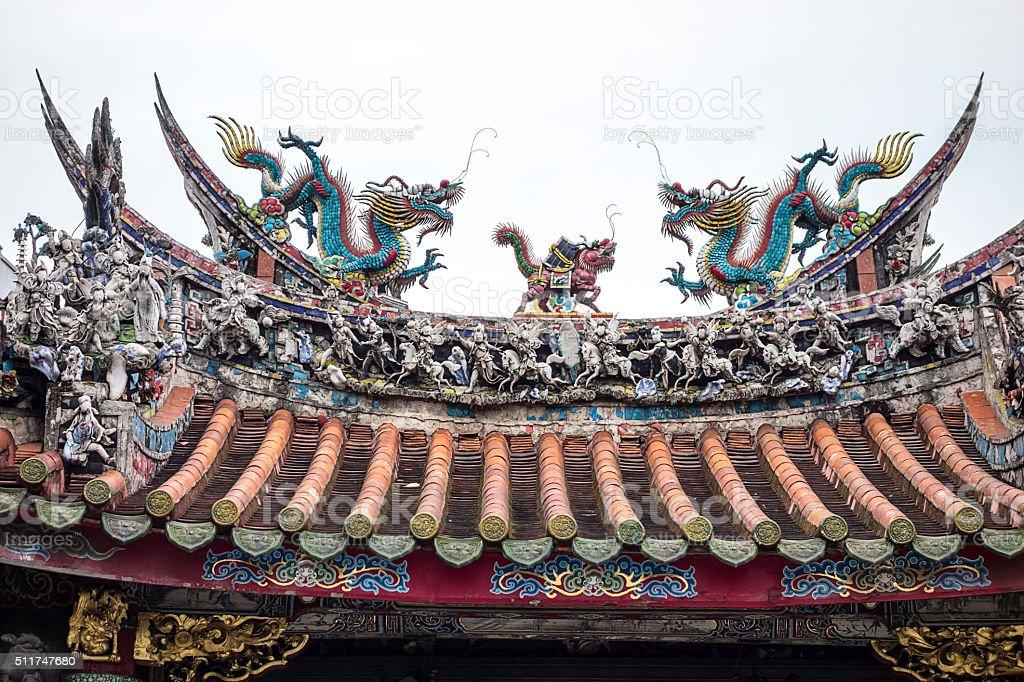 Longshan Temple Pagoda Roof stock photo