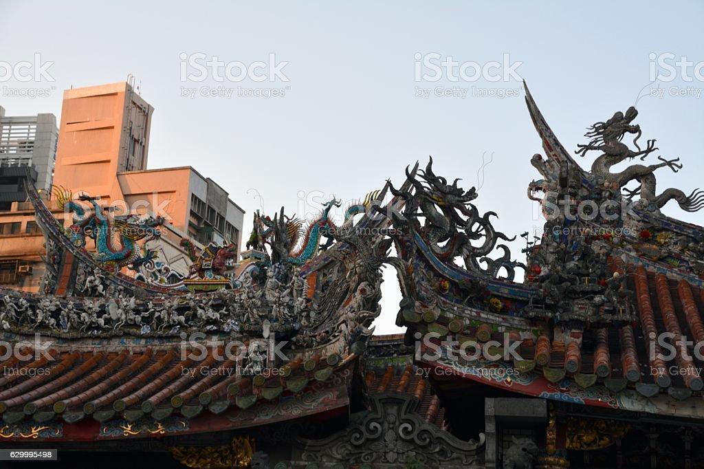 Longshan Temple roof features, Taipei, Taiwan stock photo
