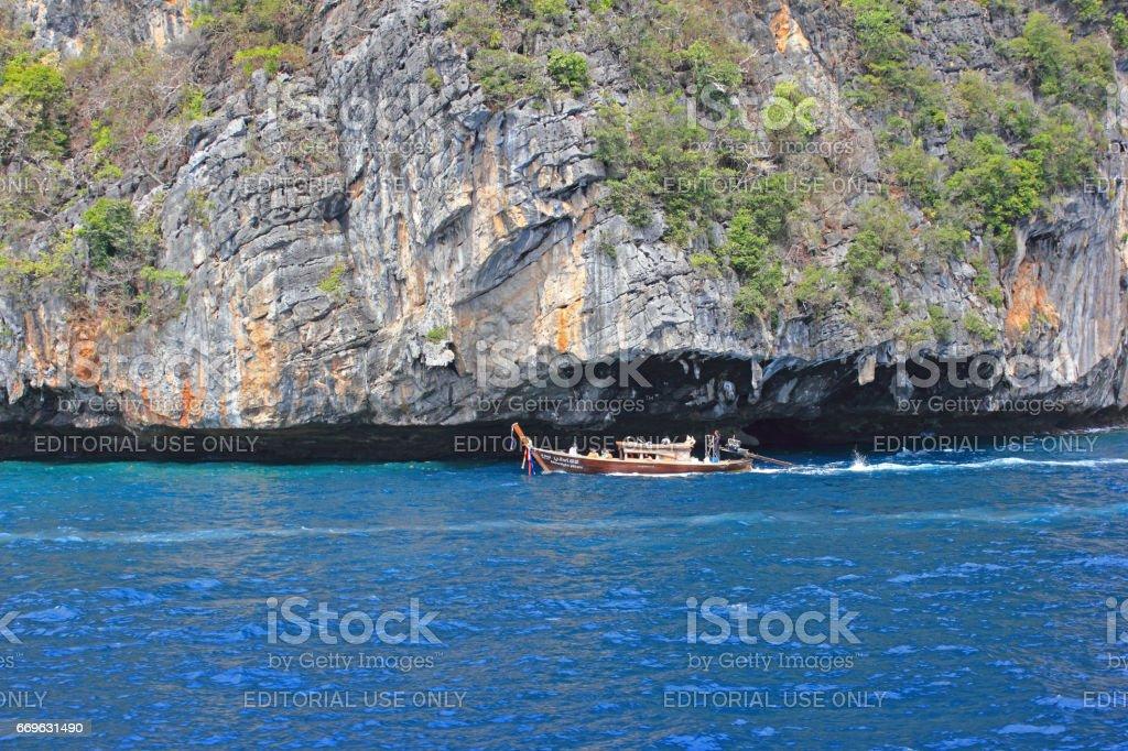 Longtail Boat at Sea, Thailand stock photo
