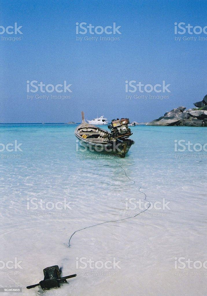 longtail boat blue sky thailand beach royalty-free stock photo