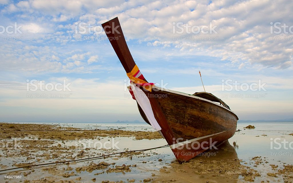 longtail boat in low tide, thailand royalty-free stock photo