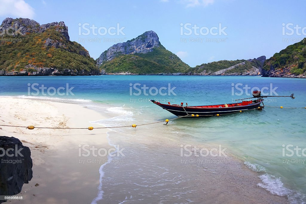 long-tail boat in Thailand. stock photo