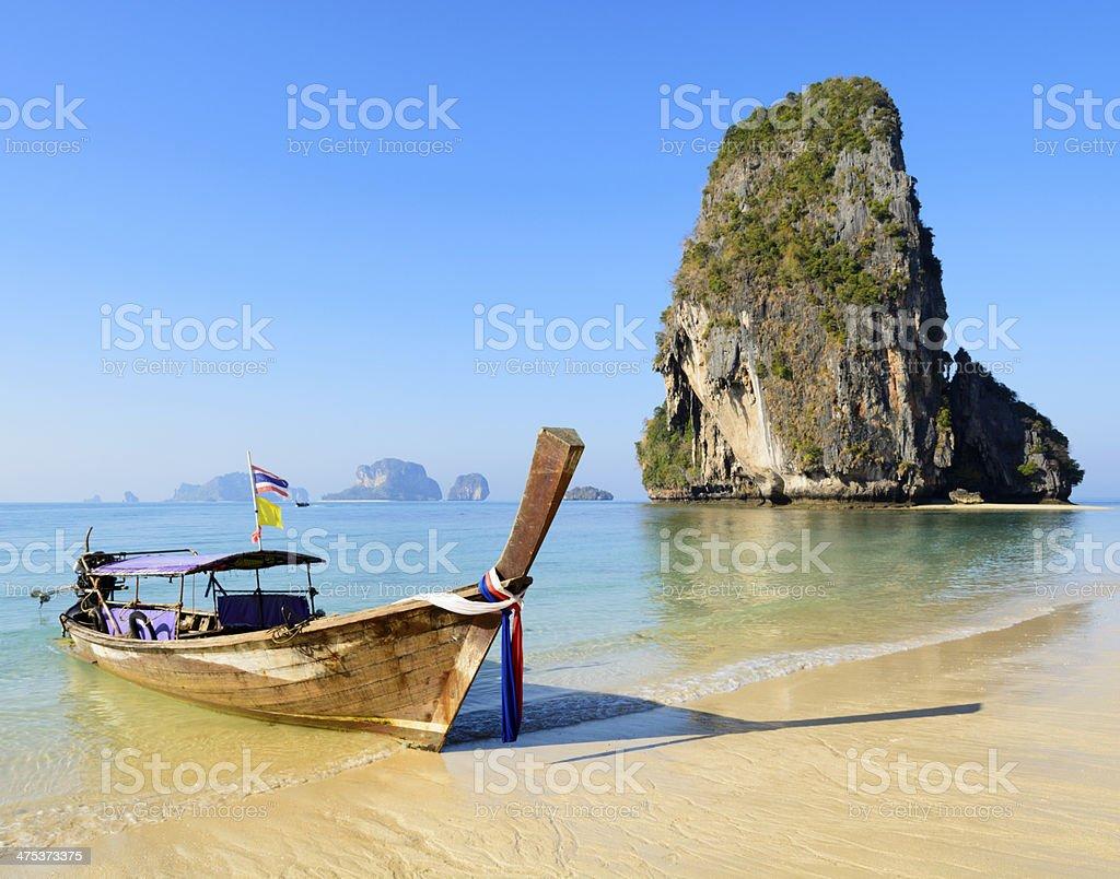 Longtail Boat on Railay Beach Thailand stock photo