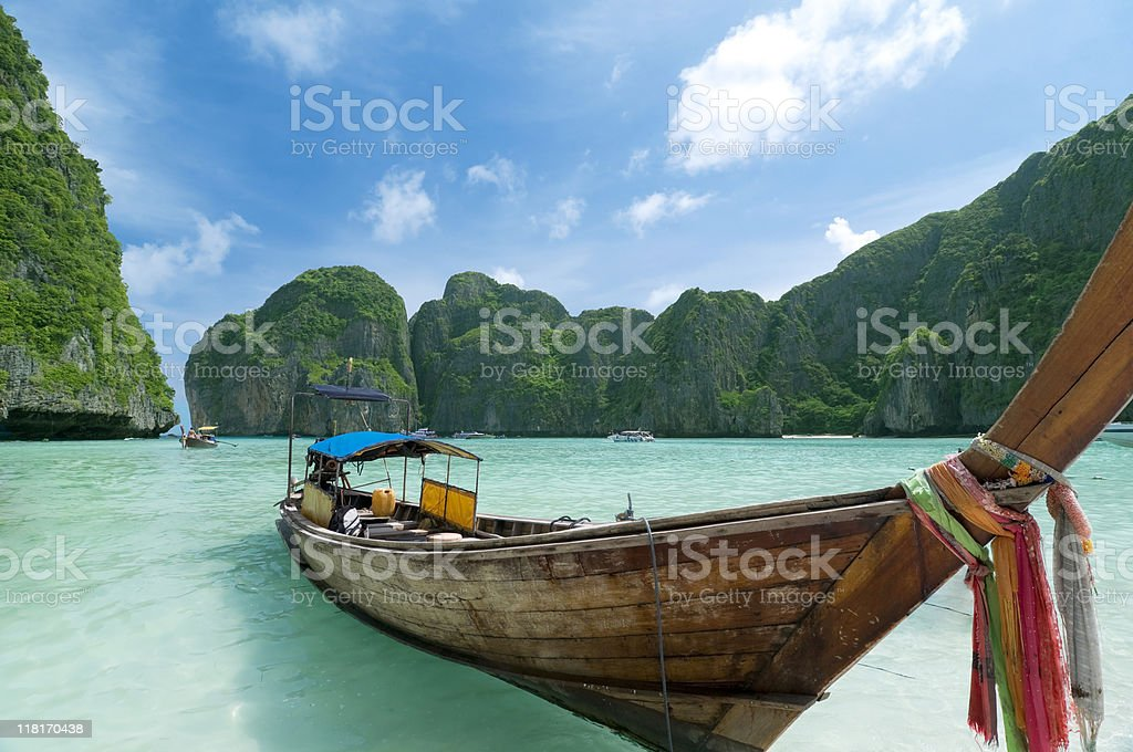 Longtail Boats at the beach on tropical island royalty-free stock photo