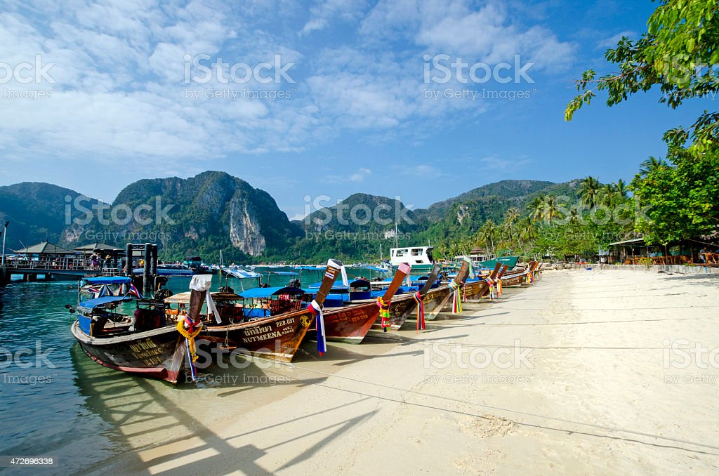 Longtail boats at Tonsai pier, Phi Phi Don Island stock photo