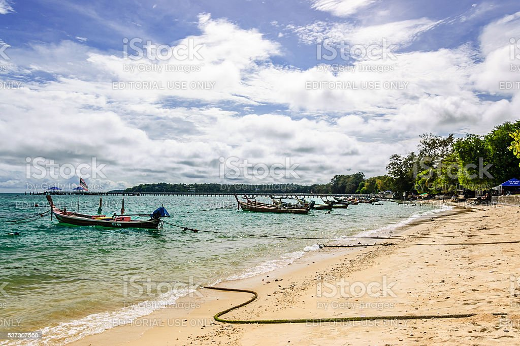 Long-tail boats & beach, Phuket, Thailand stock photo